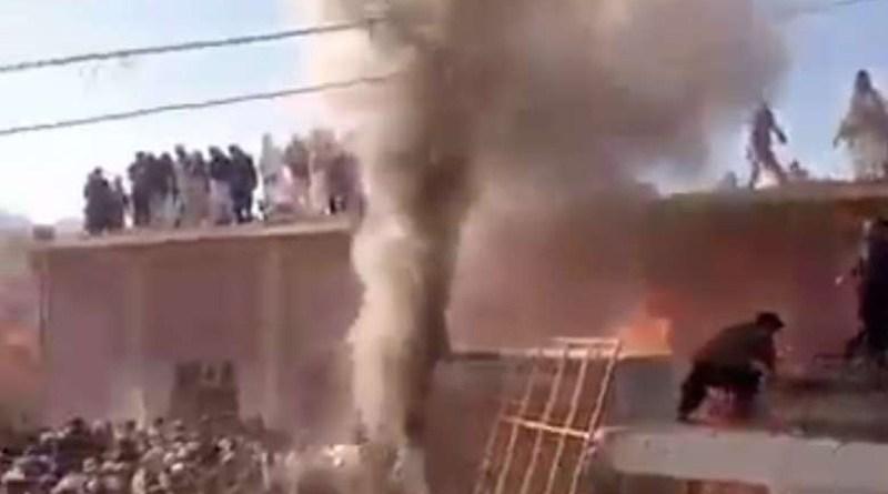 A mob attacks the shrine of Shri Paramhans Ji Maharaj in Teri village of Karak district in Khyber Pakhtunkhwa province of Pakistan on Dec. 30. (Photo supplied)