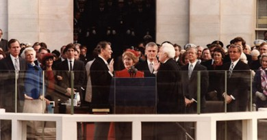 President Ronald Reagan being sworn in on Inaugural Day 1981. Photo Credit: Wikimedia Commons