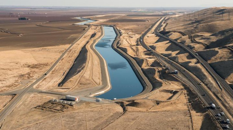 The Dos Amigos Pumping Plant in Merced County and California Aqueduct are part of the California State Water Project, an energy-intensive public water project that distributes water throughout the state. CREDIT California Department of Water Resources