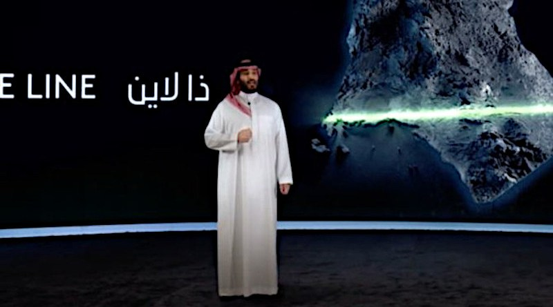 """Saudi Crown Prince Mohammed bin Salman announces """"The Line"""" project at NEOM. (SPA)"""