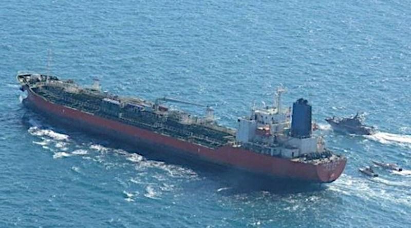 Iranian IRGC patrol boats seize South Korean-flagged oil tanker Hankuk Chemi. Photo Credit: Tasnim News Agency