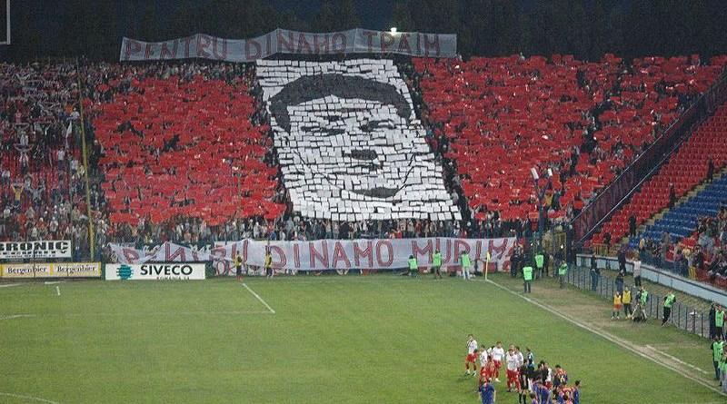 Dinamo Bucharest fans paying homage to Cătălin Hîldan in 2005. Photo Credit: Tico189, Wikipedia Commons