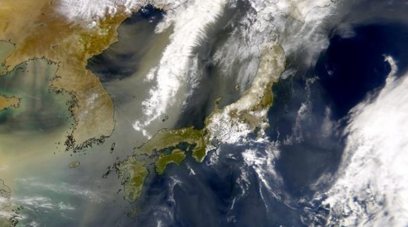 Image of a dust plume leaving China and crossing the Korean Peninsula and Japan. Researchers studied the dust deposited in ancient ocean sediments in order to understand how wind patterns in this area have shifted in the past. Their findings provide a better understanding of how the winds may change in the future. CREDIT SeaWiFS Project, NASA/Goddard Space Flight Center, and ORBIMAGE
