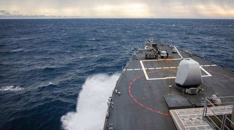The Arleigh Burke-class guided-missile destroyer USS John S. McCain (DDG 56) transits through South China Sea while conducting routine underway operations. McCain is forward-deployed to the U.S. 7th Fleet area of operations in support of security and stability in the Indo-Pacific region. Photo Credit: Mass Communication Specialist 2nd Class Markus Castaneda