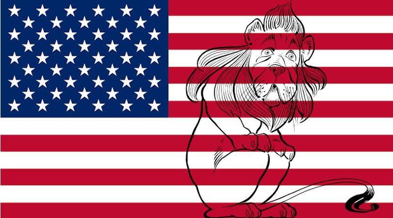 United States Flag Lion Coward