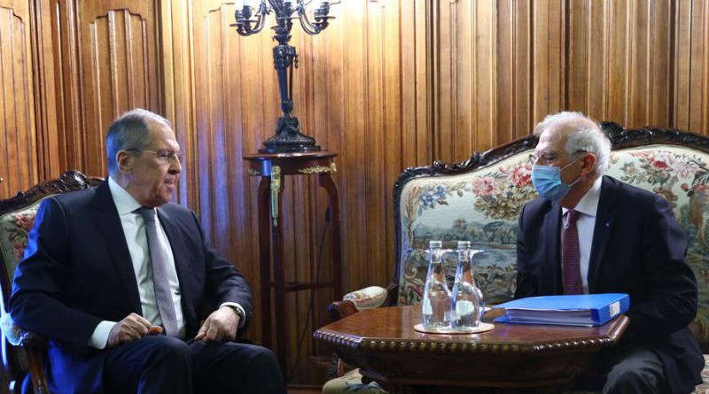 Russian Foreign Minister Sergei Lavrov (L) and High Representative of the EU for Foreign Affairs and Security Policy, Josep Borrell (R). Photo Credit: Russian Foreign Affairs Ministry