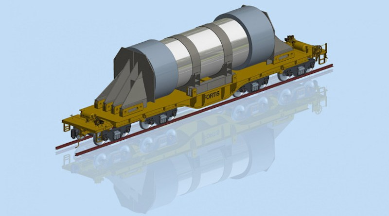 A rendering of the Fortis railcar, loaded with a used fuel cask (Image: DOE)