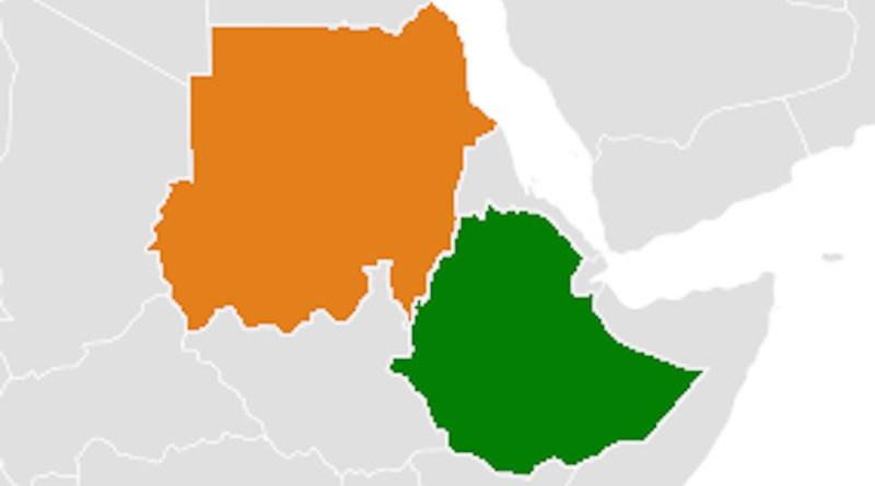 Locations of Ethiopia (green) and Sudan (orange). Credit: Wikipedia Commons