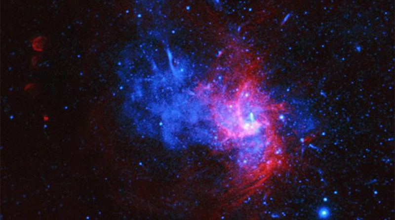This composite image of X-ray data from Chandra (blue) and radio emission from the Very Large Array (red) contains the first evidence for a rare type of supernova in the Milky Way. By analyzing over 35 days' worth of Chandra observations, researchers found an unusual pattern of elements such as iron and nickel in the stellar debris. The leading explanation is that this supernova remnant, called Sgr A East, was generated by a so-called Type Iax supernova. This is a special class of Type Ia supernova explosions that are used to accurately measure distances across space and study the expansion of the Universe. CREDIT X-ray: NASA/CXC/Nanjing Univ./P. Zhou et al. Radio: NSF/NRAO/VLA