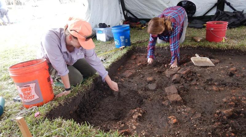 Archaeologists doing fieldwork. CREDIT Lisa Overholtzer