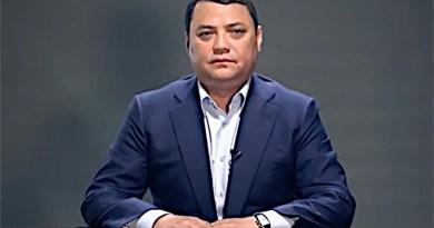 Rayimbek Matraimov speaking in an online video appeal in 2019.