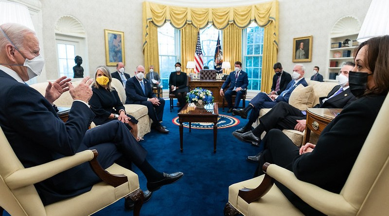 President Joe Biden and Vice President Kamala Harris meet with Governors and Mayors in the Oval Office of the White House. Official White House Photo by Adam Schultz)