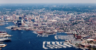 Aerial image of Patapsco River in downtown Baltimore, to illustrate an urban system. CREDIT Will Parson/Chesapeake Bay Program