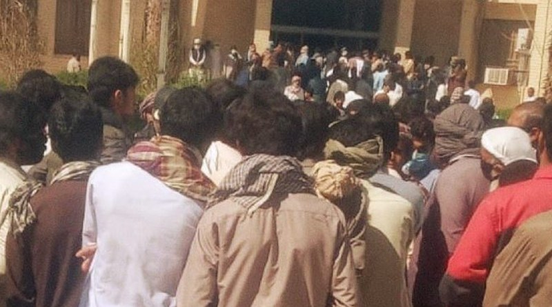 Baluch protesters outside the Saravan Governor's Office. Photo Credit: Iran News Wire