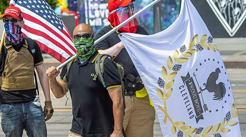 The Proud Boys at an Ohio event in 2020. Photo Credit: Becker1999, Wikipedia Commons
