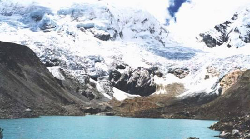 Lake Palcacocha last burst its banks in 1941, killing at least 1,800 people in the city of Huaraz. Known as one of the world's most dangerous lakes, its water level has risen in recent years with the shrinking of Palcaraju Glacier, which lies directly to the north. CREDIT Georg Kaser/Wikimedia