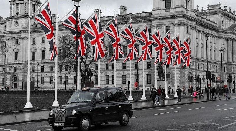 united kingdom london flag taxi