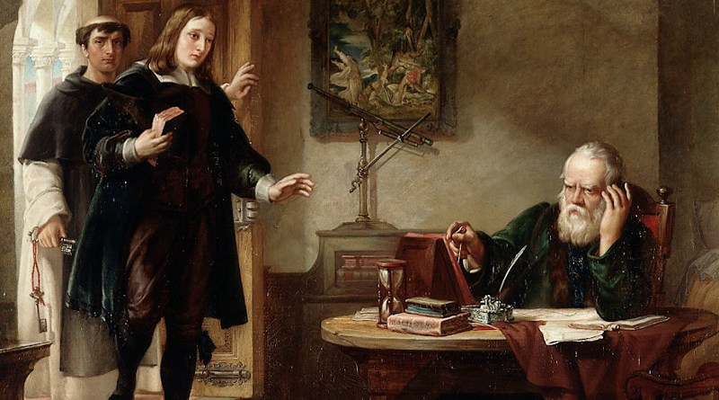 Milton visiting Galileo when a prisoner of the Inquisition. Oil painting by Solomon Alexander Hart, 1847. Source: Wikipedia Commons