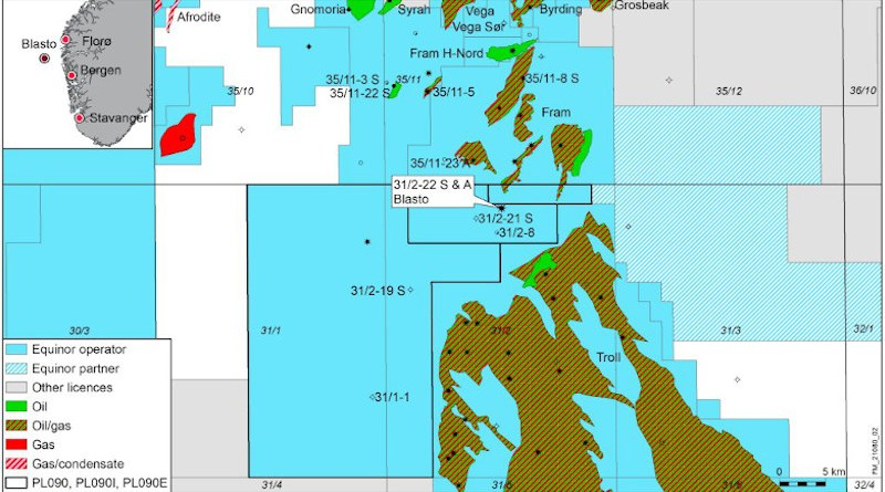 Location of the exploration well 31/2-22 S in the Blasto Main prospect near the Fram field in the North Sea. Credit: Equinor