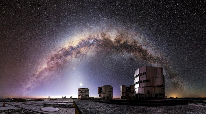 The entire arc of Milky Way, full of gas and dust, star clusters and emission nebulae, is a luminous background for the ESO-operated Very Large Telescope (VLT). CREDIT M. Claro/ESO.