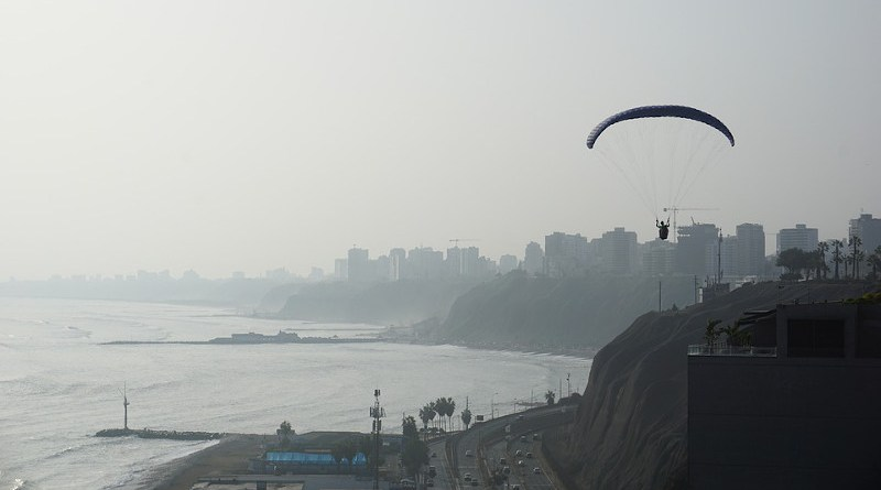 lima peru ocean beach pollution hang gliding