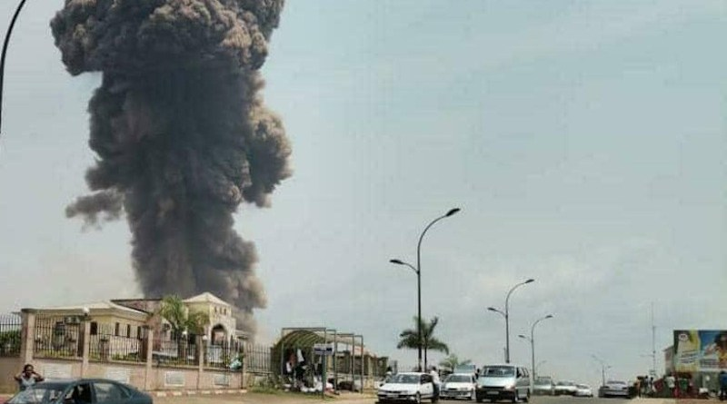 A dark cloud of smoke shown in the aftermath of a series of explosions in Bata, Equatorial Guinea, March 7, 2021. © 2021 Private. HRW