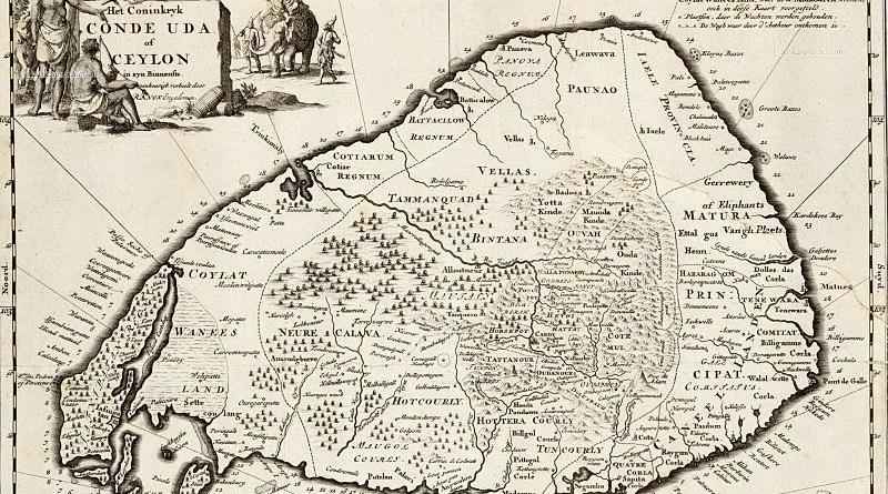 1692 engraving by Wilhem Broedelet of Robert Knox's 1681 map of Ceylon.