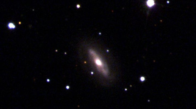 Galaxy J0437+2456 is thought to be home to a supermassive, moving black hole. CREDIT Sloan Digital Sky Survey (SDSS).