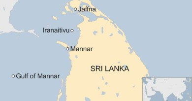 Location of Sri Lanka's Iranaitivu Island