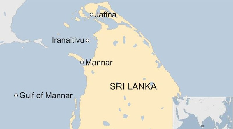 Location of Sri Lanka's Iranaitivu Island