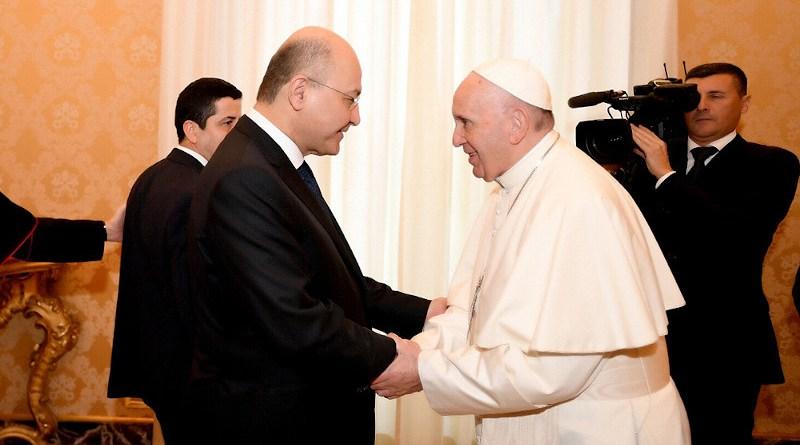 Iraq President Barham Salih with His Holiness Pope Francis. Photo Credit: Iraqi Presidency