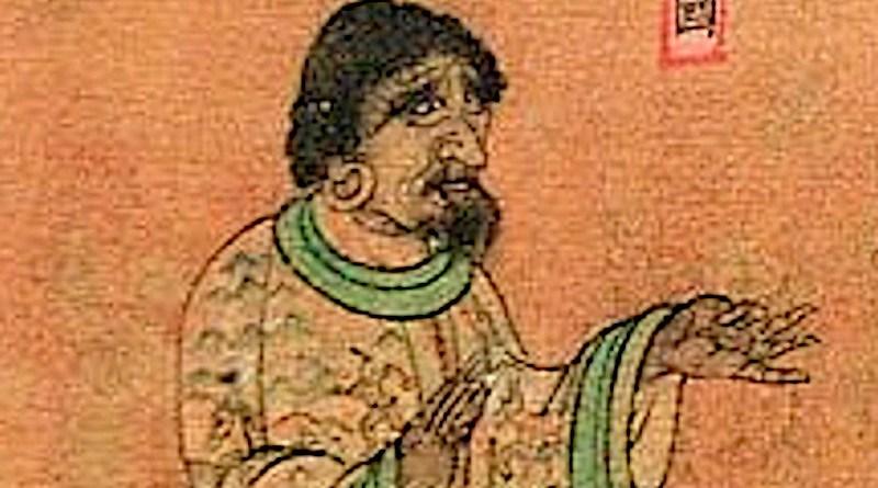 Ambassador from Sri Lanka (獅子國 Shiziguo) to China (Liang dynasty), Wanghuitu (王会图), circa 650 CE. Drawing: 阎立本,Yan Liben (601-673 CE), Tang Dynasty, Wikipedia Commons