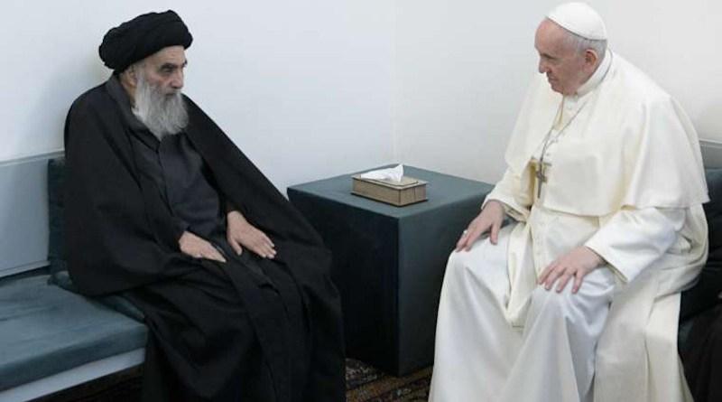 Pope Francis meets Grand Ayatollah Ali al-Sistani in Najaf, Iraq, March 6, 2021. Credit: Vatican Media.
