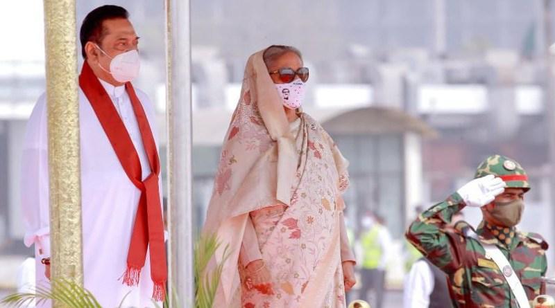 Sri Lanka's Prime Minister Mahinda Rajapaksa with Bangladesh's Prime Minister Sheikh Hasina. Photo Credit: Sri Lanka government