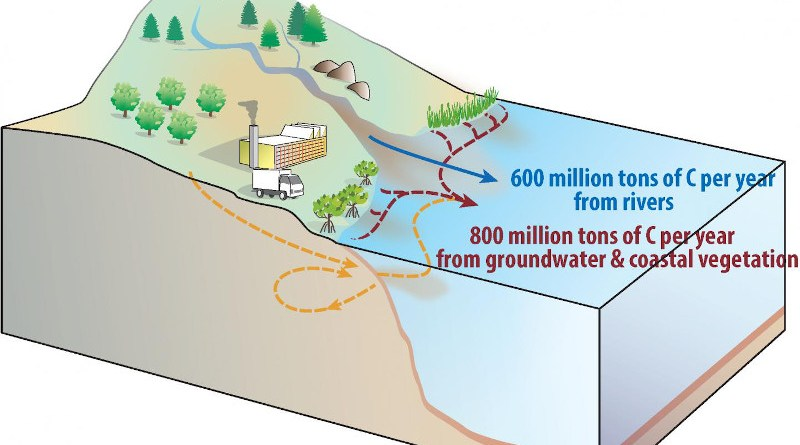 Schematic figure showing the new estimates of river, groundwater and coastal ecosystem carbon transport from land to ocean. CREDIT Eun Young Kwon