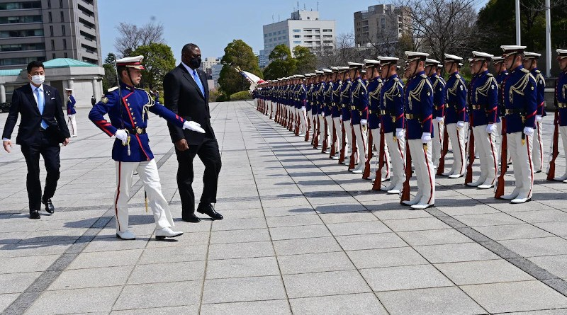 Secretary of Defense Lloyd J. Austin III troops the line during a welcome ceremony for him at the Japanese Ministry of Defense in Tokyo, March 16, 2021. Photo Credit: Jim Garamone, DOD