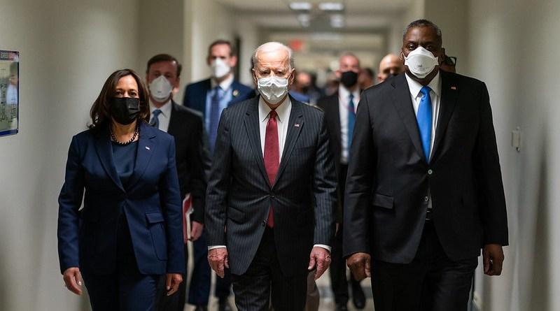 President Joe Biden and Vice President Kamala Harris, joined by Secretary of Defense Lloyd Austin. (Official White House Photo by Adam Schultz)