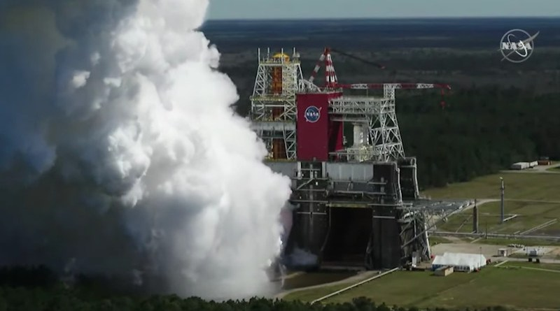 The core stage for the first flight of NASA's Space Launch System rocket is seen in the B-2 Test Stand during a hot fire test Thursday, March 18, 2021, at NASA's Stennis Space Center near Bay St. Louis, Mississippi. The hot fire is the final test of the Green Run test series, a comprehensive assessment of the Space Launch System's core stage prior to launching the Artemis I mission to the Moon. Credits: NASA TV