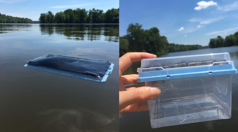 In a study conducted at Princeton University, researchers placed the gel in lake water where it absorbed pure water, leaving contaminants behind. The researchers then placed the gel in the sun, where solar energy heated up the gel, causing the discharge of the pure water into the container. CREDIT Image credit: Xiaohui Xu , Princeton University
