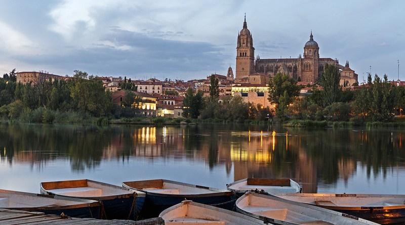 Salamanca Spain Architecture River Boats Landscape Reflection Dusk