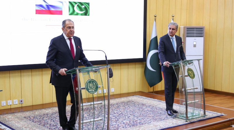 Russia's Foreign Minister Sergey Lavrov with Foreign Minister of the Islamic Republic of Pakistan Makhdoom Shah Mahmood Qureshi. Photo Credit: Mid.ru