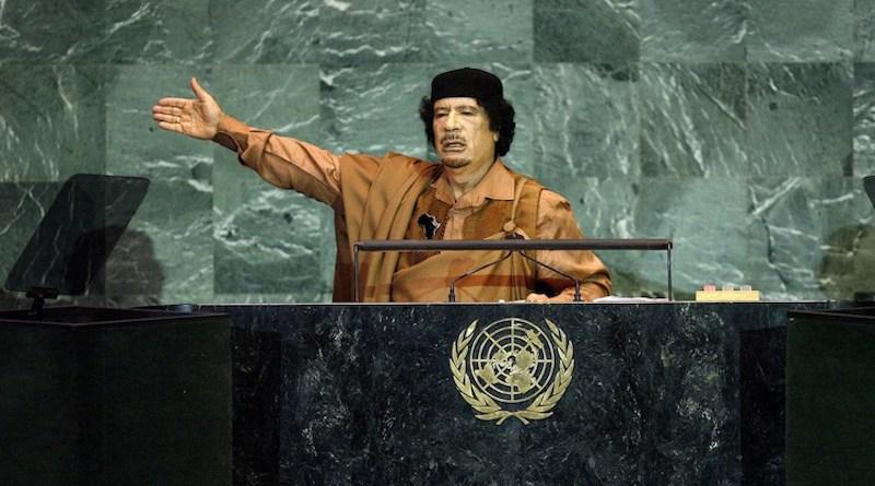 Col Muammar el-Qaddafi of Libya addressing the UN General Assembly sessions in September 2009. Credit: United Nations