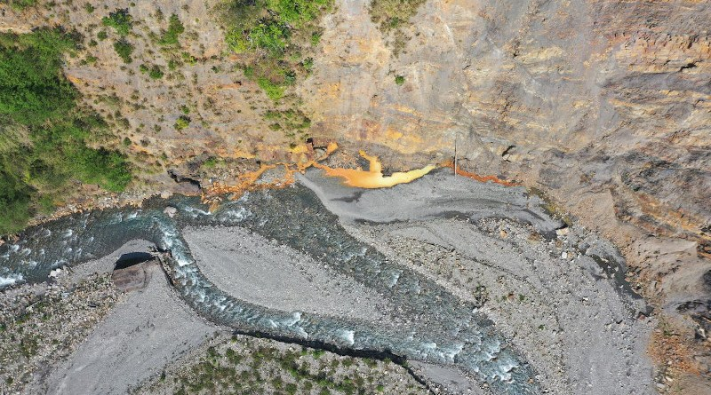 Active bedrock seepage with yellow-brown weathering fluids; Lushan - Taiwan. CREDIT Kristen Cook (GFZ)