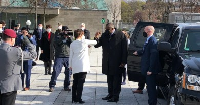 Secretary of Defense Lloyd J. Austin III greets German Defense Minister Annegret Kramp-Karrenbauer at the Defense Ministry in Berlin, April 13, 2021. Photo Credit: Jim Garamone, DOD