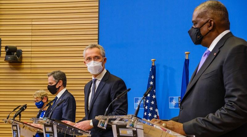 Joint press conference with NATO Secretary General Jens Stoltenberg and US Secretary of State Antony Blinken and US Secretary of Defense Lloyd Austin. Photo Credit: NATO