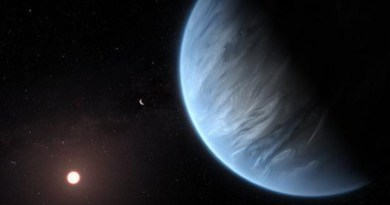 An artistic impression of one of the exoplanets in the study, K2-18b. The image shows the planet, its host star, and an accompanying planet in this system. K2-18b is now the only gas dwarf exoplanet known to host both water and temperatures that could support life. CREDIT ESA / Hubble, M. Kornmesser, CC BY 4.0
