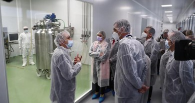 Spain's Prime Minister Pedro Sanchez visits the installation of the pharmaceutical company HIPRA in Amer (Girona). Photo Credit: Pool Moncloa/Fernando Calvo
