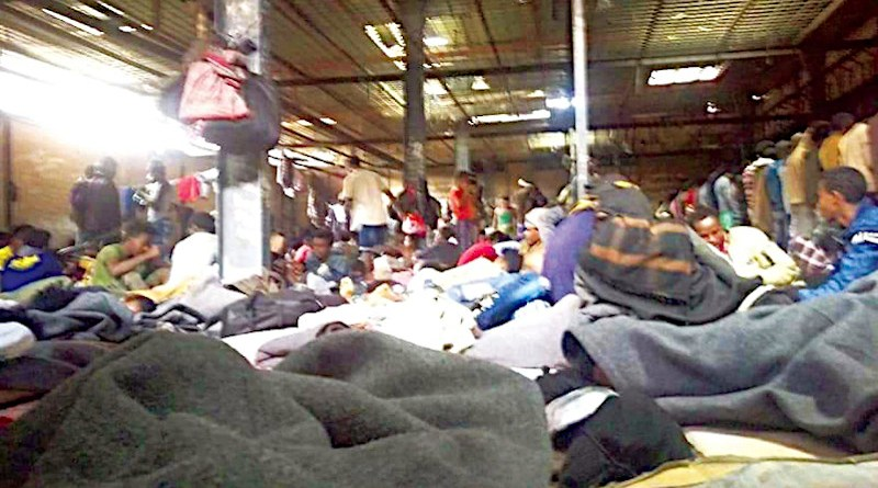 Conditions in the hangar where Ethiopians were housed in Yemen before the fire. (Oromia Human Rights Organization photo)