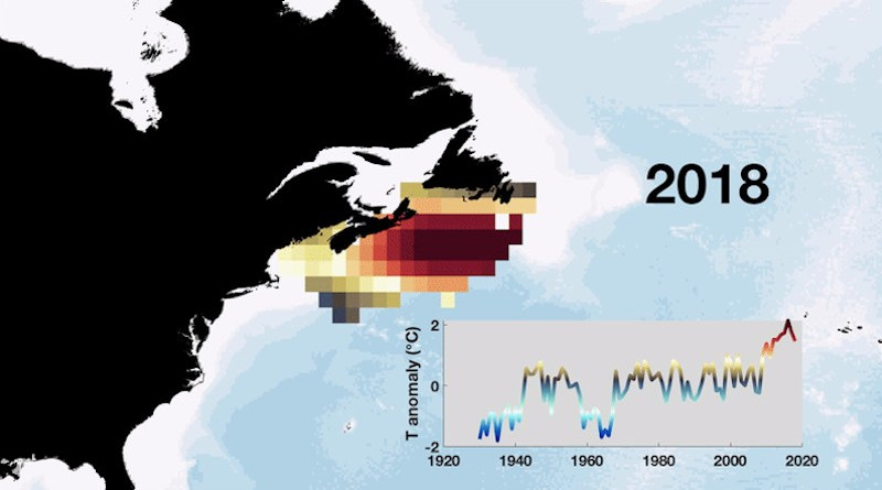 An animated map and time series (same color convention) of the 2008 temperature anomaly on the Northwest Atlantic Shelf, highlighting the rapid warming in the most recent decade. CREDIT (Animation by Afonso Gonçalves Neto)