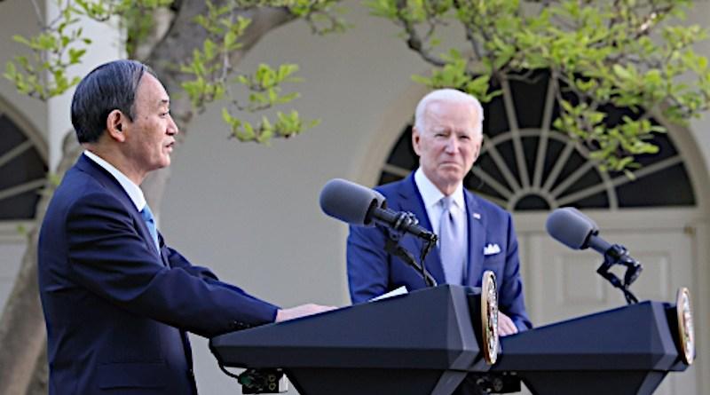 Japan's Prime Minister Yoshihide Suga and US President Joe Biden. Photo Credit: Japan PM Office